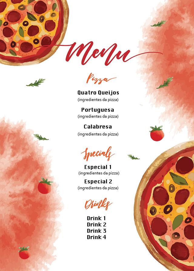 Cardápio de pizzaria deve ter a explicação de cada pizza e seus recheios